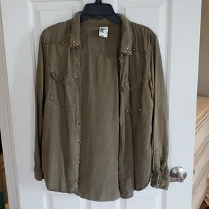 Gold studded utility button up